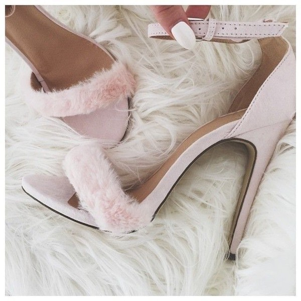 shoes blush pink fur heels high heel sandals socks pink pink heels nude blush nude heels single strap heels