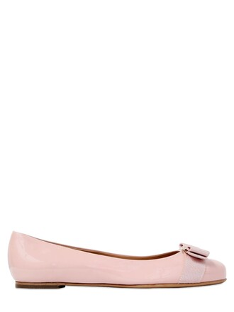 flats leather pink shoes
