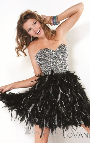 dress jovani prom dress rhinestones jovani dress black feathers