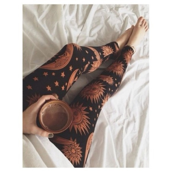 black leggings pants sun sunshine printed leggings