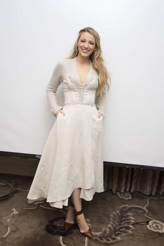 dress top pumps blake lively midi dress fall outfits long sleeves lace up bustier shoes