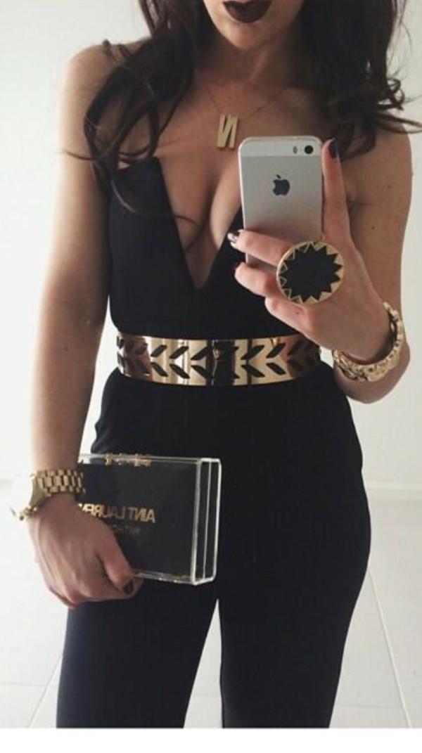 dress black jumpsuit hot black and gold