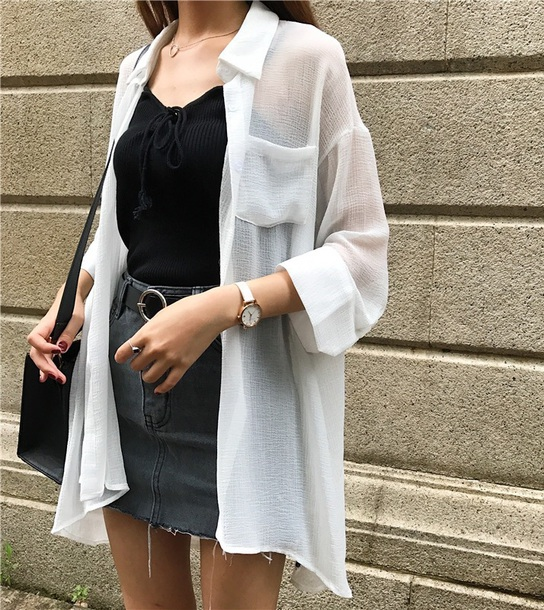 blouse girly white sheer sheer blouse sheer shirt button up