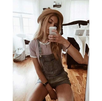 cute top overalls hat indie indie boho styled shorts