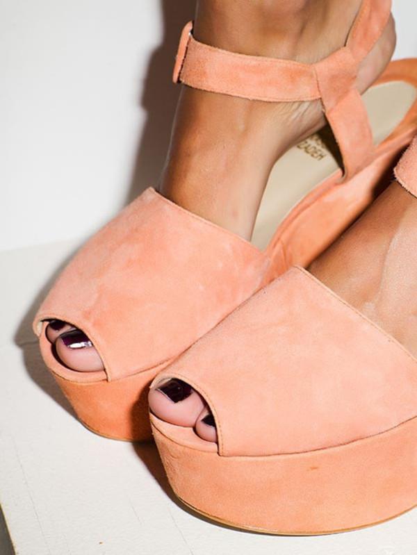 Shoes: peach, nails, nail polish, tumblr, straps, wedges ...