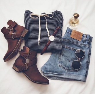 shoes boots ankle boots striped shirt jeans well dressed popular trending trendy on point on point clothing stylish sweater shorts top sunglasses jewels cut out ankle boots