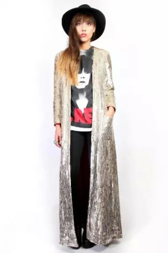 jacket glam rock sparkle metallic gold silver glam vintage rock