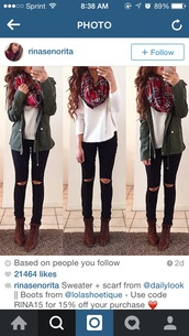 coat,green,jacket,parka,jeans,scarf,top,shoes