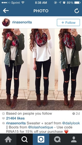 coat green jacket parka jeans scarf top shoes