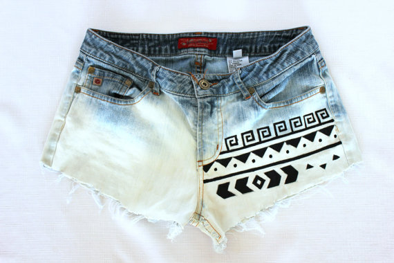 Bleached tribal aztec shorts by shopsunkissed on etsy