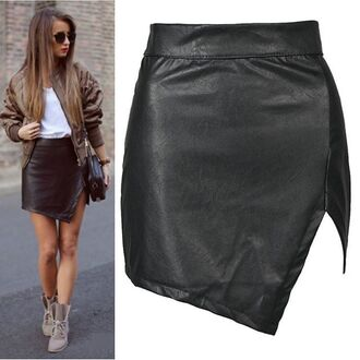 skirt outfit made dress leather leather skirt leather look leather jacket bomber jacket kylie jenner tumblr ootd outfit