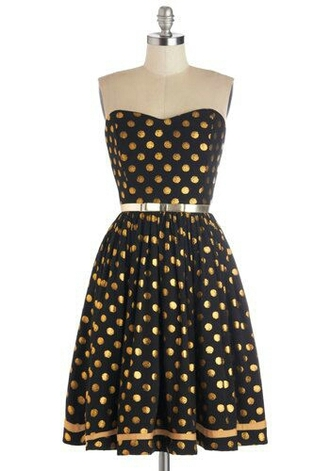 dress yellow black belt silver polka dots