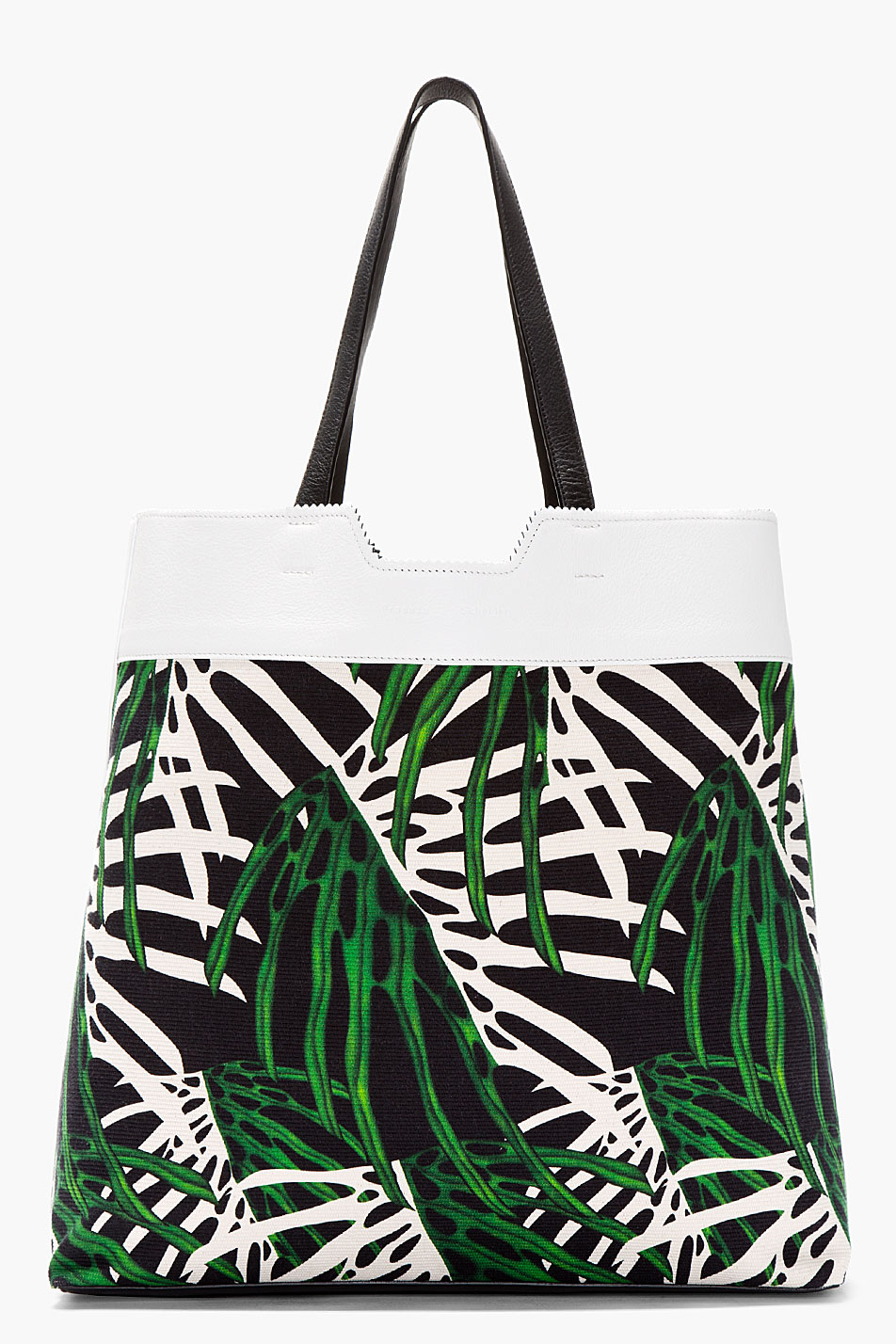 Proenza schouler white and green leaf printed paper bag tote