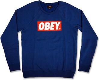 sweater obey sweatshirt crewneck dark blue blue red white red bar