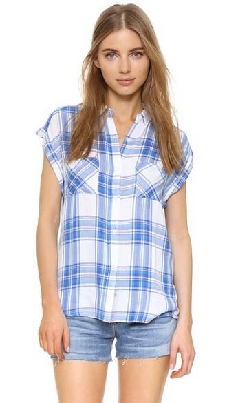 blouse white blue lilac top
