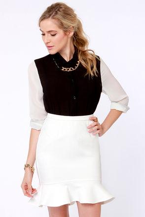 Aryn K Skirt - Ivory Skirt - Trumpet Skirt - $83.00
