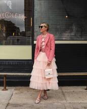 skirt,midi skirt,tulle skirt,flats,handbag,belt,blazer,heart sunglasses,ruffled top