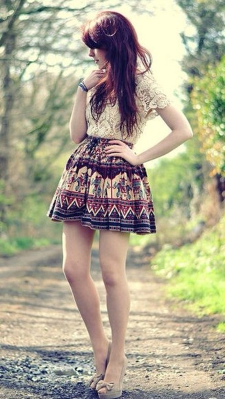 skirt aztec aztec skirt tribal clothes lace scalloped tribal skirt lace scalloped shirt high waisted skirt tumblr white oriental print