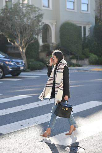 scarf tumblr tartan tartan scarf denim jeans blue jeans pumps pointed toe pumps high heel pumps coat black coat