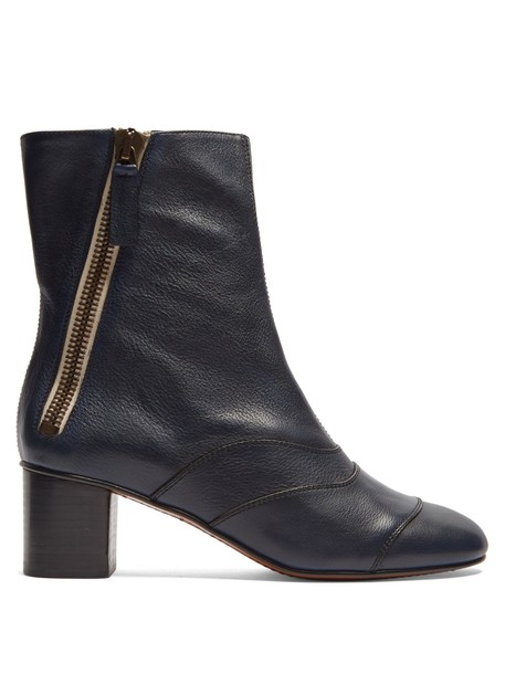 Chloe leather ankle boots ankle boots leather navy shoes