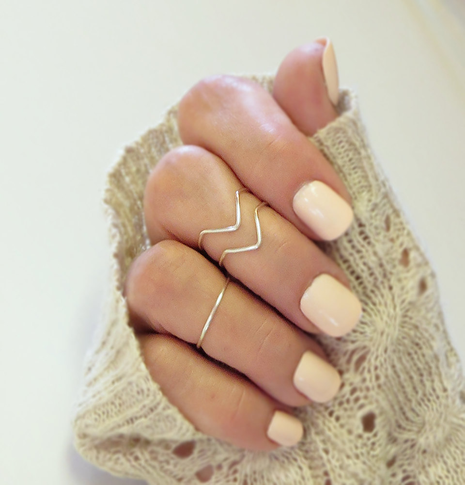 Knuckle Ring Set of 3 Handmade 2 Chevron 1 Band Adjustable Midi Stacking Dainty Gold or Silver Tone