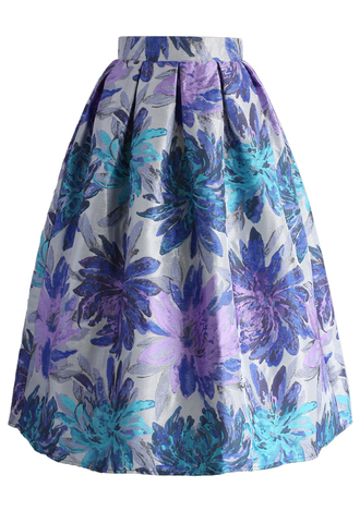 skirt all in bloom jacquard midi skirt chicwish midi floral