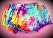 shorts,ti-dye,blue,violet,yellow,pink,purple,red,short,back pockets,rainbow,tie dye,tumblr,colorful,tie dye shorts,levi's shorts,multicolor,pants