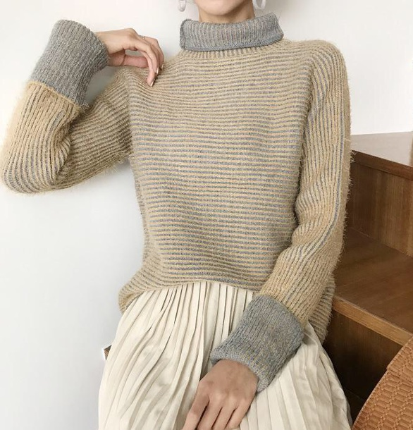 sweater girly knitwear knit knitted sweater turtleneck turtleneck sweater fuzzy sweater