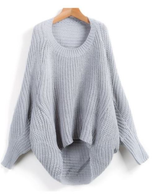 Gray long sleeve knit sweater