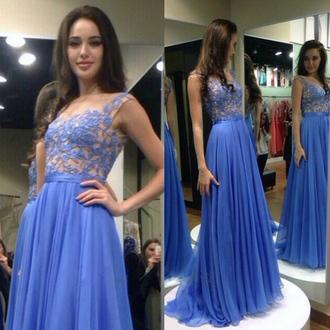 dress blue prom fashion elegant gown formal classy long dress vanessawu