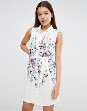 Lipsy Floral Tie Waist Shirt Dress at asos.com