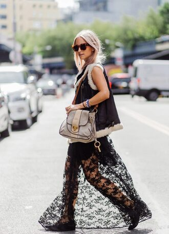 the fashion guitar blogger bag coat vest maxi dress see through dress shoulder bag flats shearling vest shearling leather vest tortoise shell sunglasses tortoise shell