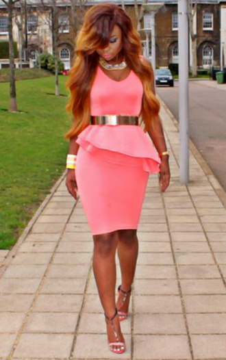 dress pink peplum belt gold asymmetrical heels girly jewelry fashion summer spring strapless scoop neck open toes shoes outfit gold belt