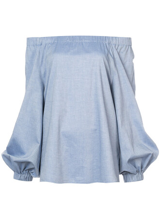 blouse women cotton blue top