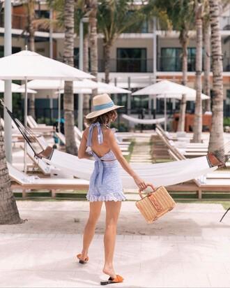 top blue shorts hat tumblr blue top halter top halter neck crop tops matching set shorts bag basket bag sun hat shoes slide shoes