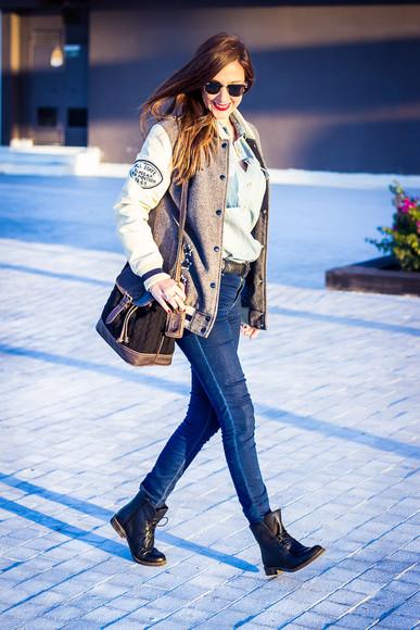 baseball jacket sunglasses blogger bag jewels jeans shoes and basics