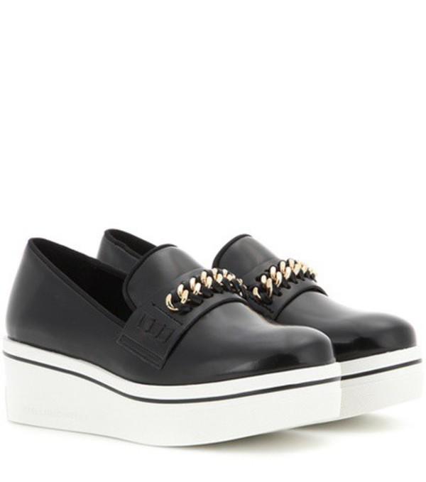 Stella McCartney Embellished Faux Leather Platform Slip-on Sneakers in black