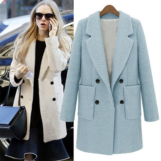 classy fashion coat winter coat light blue amanda seyfried