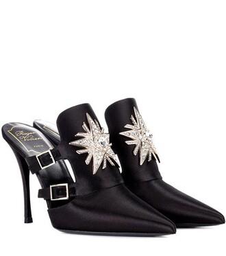 embellished mules satin black shoes