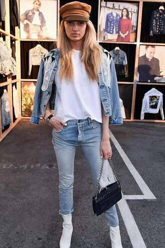 hat top jeans denim jacket denim instagram streetstyle model off-duty romee strijd fall outfits