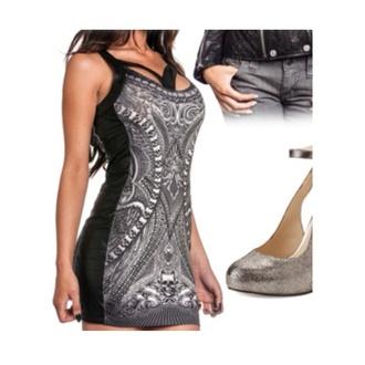 dress black pattern nice bodycon
