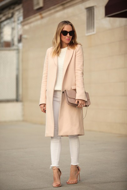 brooklyn blonde blogger coat classy white jeans sandals nude shoes