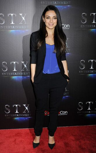 pants pumps mila kunis blazer top suit