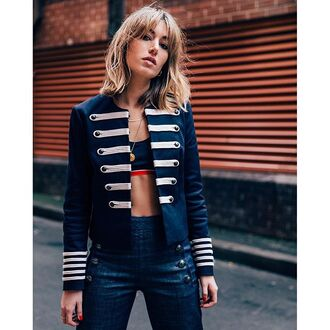 jacket tumblr military style blue jacket bra denim jeans blue jeans high waisted jeans all blue all blue outfit