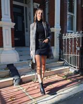 coat,checkered,mini skirt,black denim,turtleneck,black boots,handbag,earrings