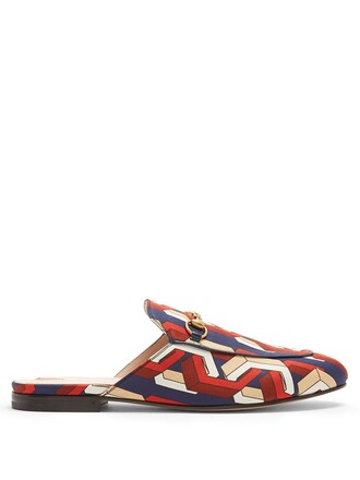loafers print satin red shoes