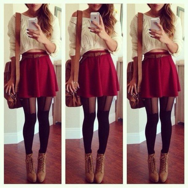 Skirt: socks, tights, sweater, shoes, woolen, red skater skirt ...