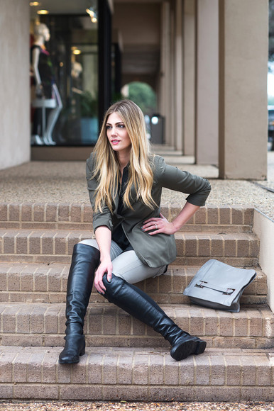 khaki blogger bag jacket devon rachel black boots