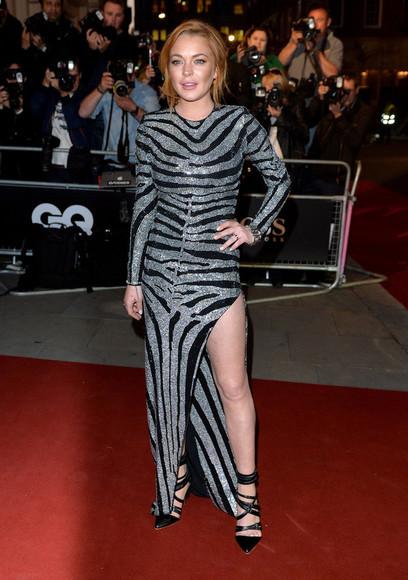 lindsay lohan maxi dress sparkly dress