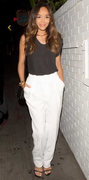 white pants pants ashley madekwe